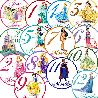 14 Princess Pink Traditional Fairytale Baby Girl Monthly Milestone Stickers