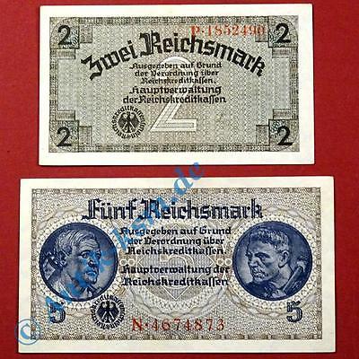 2 deutsche Besatzungsausgaben , 2 und 5 Reichsmark Schein o.D. zweiter Weltkrieg