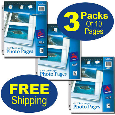 Avery 13406 Pp46h-10 4 X 6 Landscape Photo Pages Acid Free 3 Packs Of 10