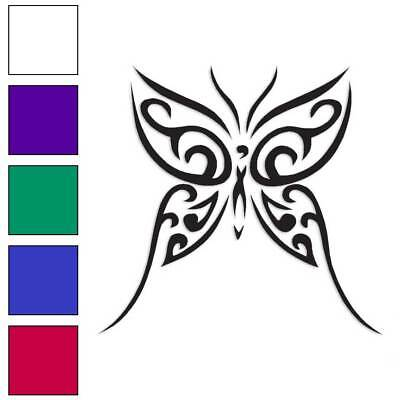 Tribal Butterfly Art Decal Sticker Choose Color + Size -