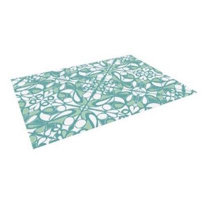 """Kess InHouse Miranda Mol """"Swirling Tiles Teal"""" Indoor/Outdoor Floor Mat, 4-Feet"""