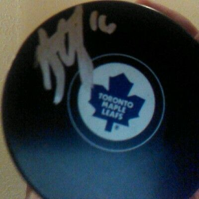 Nick Spaling signed autographed Toronto Maple Leafs logo puck