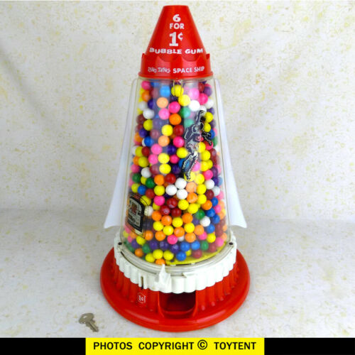 Ring Ding Space Ship penny gum ball vending machine rocket vendor with key