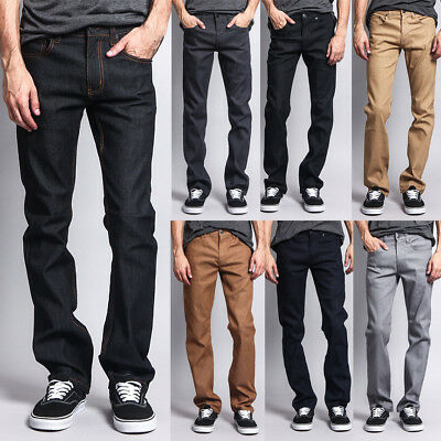 Raw Denim - Victorious Men's Slim Fit Unwashed Raw Denim Jeans DL980 - FREE SHIP