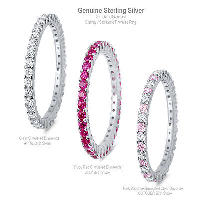 - Simulated Diamond Eternity Stackable Promise Genuine Sterling Silver Ring