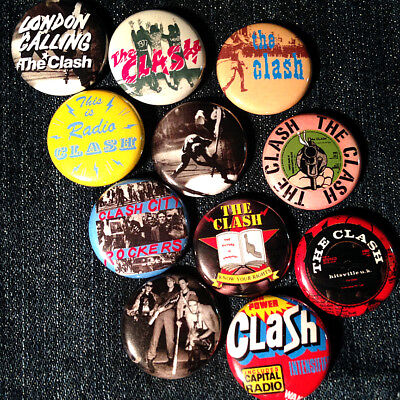 """11 The Clash 1"""" buttons FREE SHIPPING - Sex Pistols UK Punk London Calling!"""