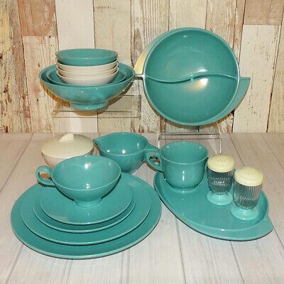 Mid Century Boonton Ware 19 Piece Table Ware Lot Turquoise White Melamine Melmac