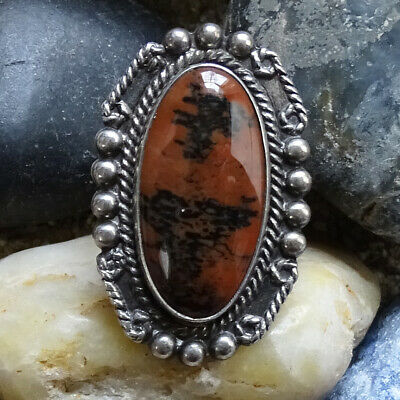 1940s Jewelry Styles and History Fred Harvey Era Petrified Wood Ring Size 7 Stamped Shank 1940s Native American  $95.00 AT vintagedancer.com
