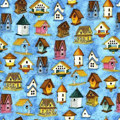 Morris Bird (Dan Morris Spring Symphony Bird House Blue Pink Floral Tone Rose Quilt Fabric 5B)