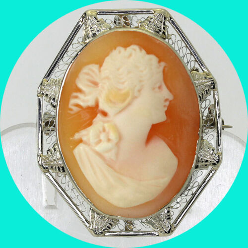 """Antique cameo pin pendant 14K WG carved shell filigree 1 1/4""""x1"""" 5.7GM"""