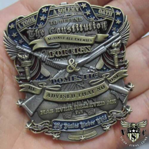 US Constitution Oath Custom Engraved Patriotic Challenge Coin - Unique