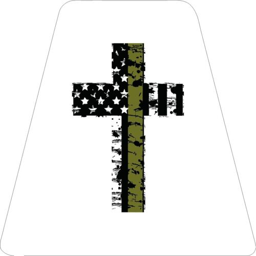 Thin Army green Cross - White TETS TETRAHEDRONS HELMET STICKER FIRE REFLECTIVE