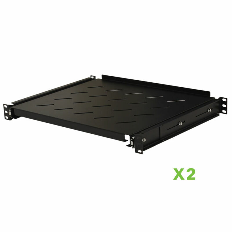 "2 pack - Sliding Rack Vented Server Shelf 1U 19"" 4 Post Rack Mount 13.75"" Deep"