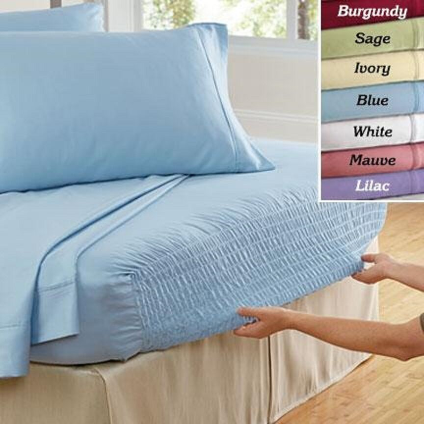 Bed Tite Deep Pocket Stretch Fit Sheet Set 100% Cotton Fitted 300 Thread Count Bedding