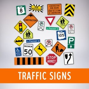 Traffic signs, construction signs, traffic control signs