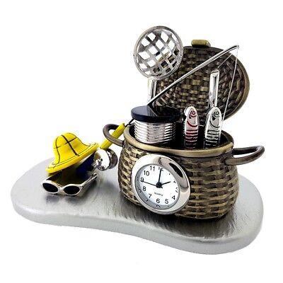 FISHING BASKET MINIATURE CREEL GEAR & ROD COLLECTIBLE MINI - Geared Mini Clocks
