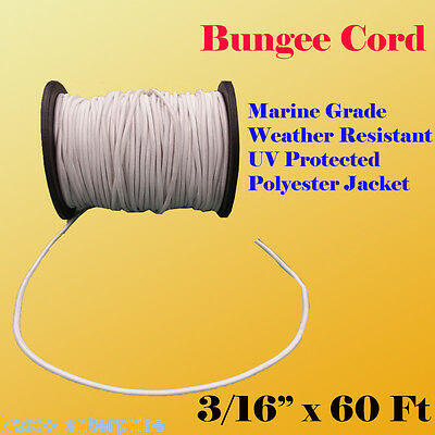 "3/16"" x 60 Ft (20 Yard) Premium Marine Grade Bungee Shock Stretch Cord UV Wht"