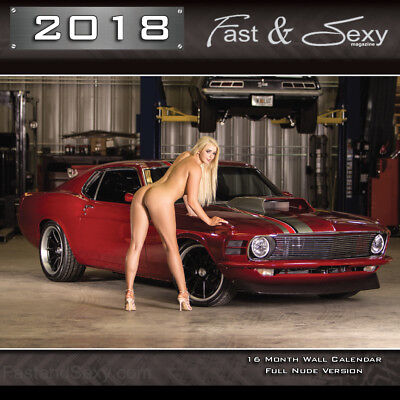 2018 Fast   Sexy Wall Calendar Nude Version Naked Girls Classic  Sports Cars