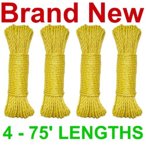 "NEW 300' 3-STRAND TWIST 1/4"" POLY DOCK LINE/ROPE,YELLOW"