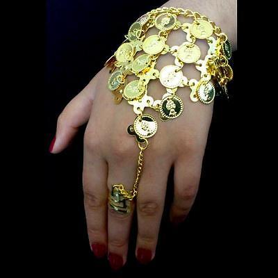 Bollywood Danza Del Vientre Joya Mano de Esclavo, Monedas Oro Anillo, usado segunda mano  Embacar hacia Mexico