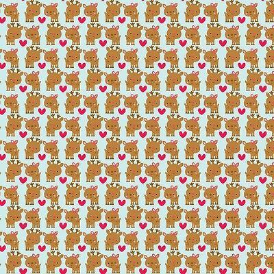 Santa Express Deer Blue by Doodlebug Designs for Riley Blake, 1/2 yard fabric