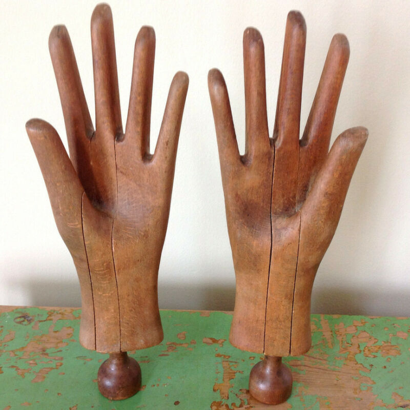 "RARE PAIR OF ANTIQUE VICTORIAN WOOD GLOVE MOLDS, EXCELLENT CONDITION, 13.25""TALL"