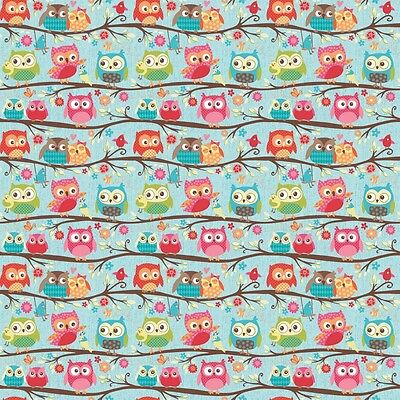 Happy Flappers Owl Blue by Kelly Panacci for Riley Blake, 1/2 yard cotton fabric