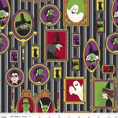 Halloween Fabric, Haunted House Frames, Riley Blake, By The Yard, TheFabricEdge - Halloween Yard Haunt