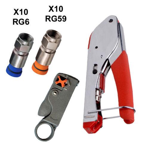 COAX COMPRESSION PRO INSTALL TOOL KIT STRIPPER + RG6 & RG59 (BELDEN) CONNECTORS