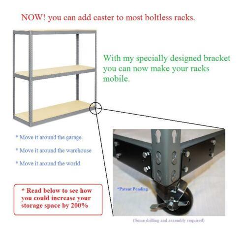 "Mobile Boltless Rack Kit:  Bracket w/Casters - for 1.5"" wide Posts  - *USA*"