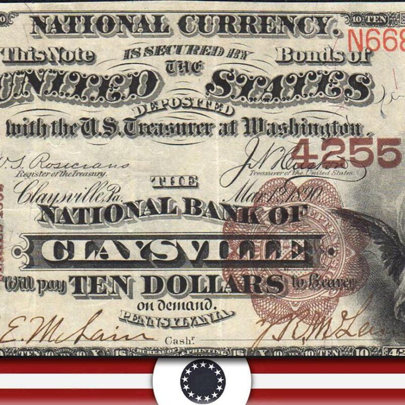 BRIGHT 1882 $5 CLAYSVILLE, PA *BROWN BACK* National Bank Note 535