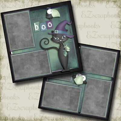 Halloween Scrapbooking Pages (Creeper Cat - Halloween - 2 Premade Scrapbook Pages - EZ Layout)
