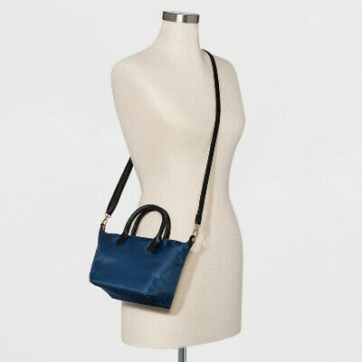 A New Day Womens Satchel Crossbody Strap Handbag Blue Nylon Black Faux Leather