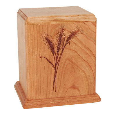 Wheat Natural Wood - Wood Cremation Urn (Wooden Urns) - Natural Cherry Wheat