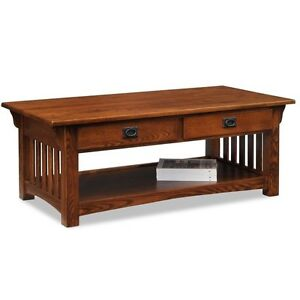 Leick Furniture Mission 2 Drawer Coffee Table In Medium Oak Finish, 8204 New