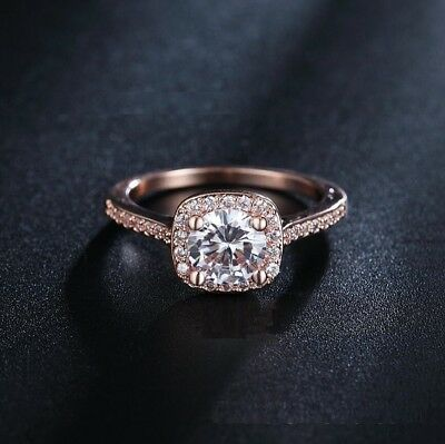 Pave Princess Cut CZ 925 Sterling Silver Rose Gold Wedding Simulate Ring RS18