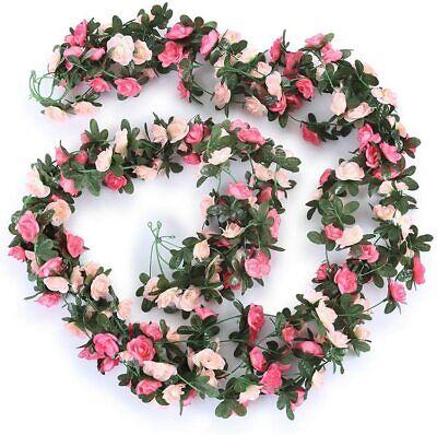 5Pcs 8.2ft Fake Rose Vine Flowers Plants Artificial Flower Hanging Rose Ivy Pink