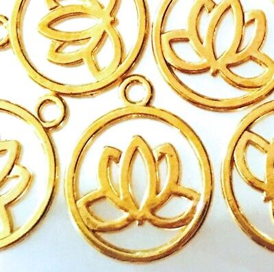 10 Lotus Flower Charms Gold Plated Pewter Filigree Water Lily Charm Yoga  (Yoga Charms)