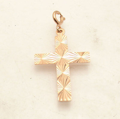 Technibond Reversible Diamond Cut Cross Pendant 14K Rose Pink Gold Clad Silver Cut Reversible Cross Pendant
