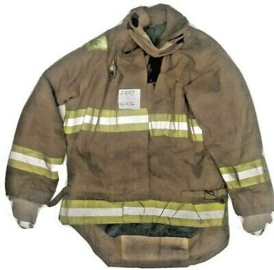 42x36 Morning Pride Brown Turnout Bunker Firefighter Jacket Yellow Reflect J847