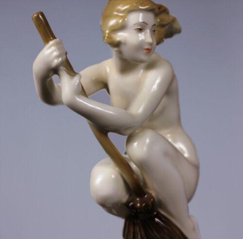 X-Rare Antique Art Deco Halloween German Witch on Broom Nude Porcelain Figurine