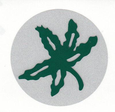 REFLECTIVE Ohio State Buckeyes buckeye leaf 2 inch helmet decal sticker (Ohio State Helmet Stickers)