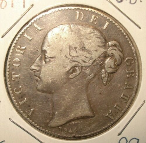 1844 Great Britain Silver Crown - Queen Victoria - F-VF - Free Shipping