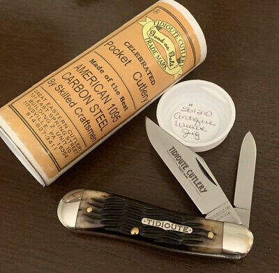 2010 GEC GREAT EASTERN CUTLERY TIDIOUTE ANTIQUE WEAVE JIG BONE DOGLEG JACK KNIFE
