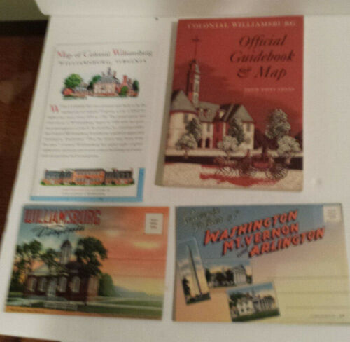 Colonial Williamsburg Guidebook Map photo DC Mt Vernon Arlington lot 4 NOS
