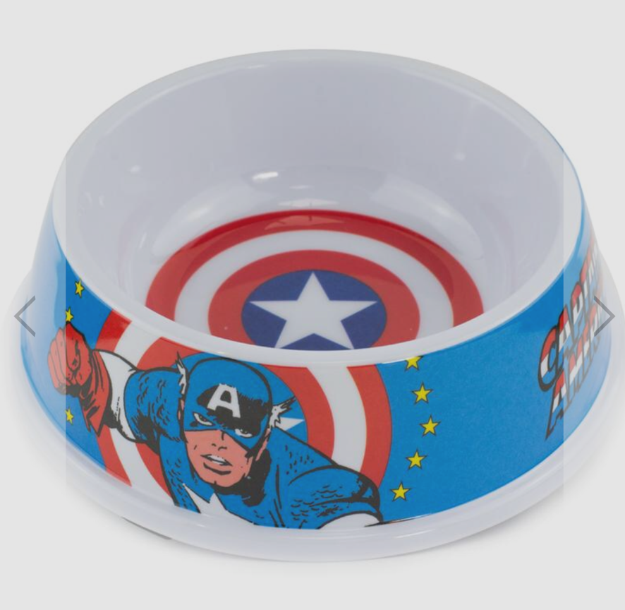 Buckle Down Captain America Dog Bowl Pet Food or Water Melamine Dish Holds 2 Cup