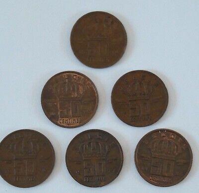 Lot 6 pièces BELGIQUE  50 CENTIMES MINEUR - 1958/59/70/77/85/87- NL/FR Belgïe