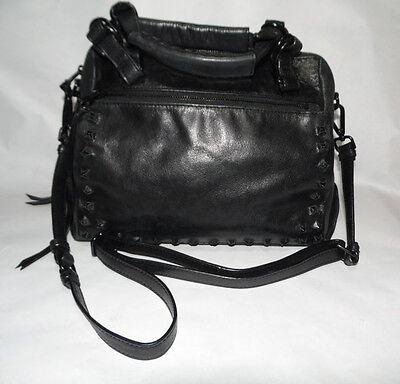 ELLIOTT LUCCA Black Pyramid Stud OLVERA Leather Satchel $158 Whiplash Whipstitch