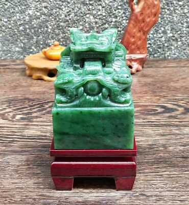 Collectible Natural HeTian Jade Jasper Figurines Carved Dragon Seal Statue BS088