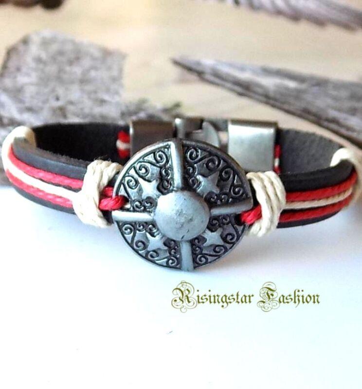 Men Cool Protection Shield New Age Fashion Leather Hip Hop Bracelet Wristband
